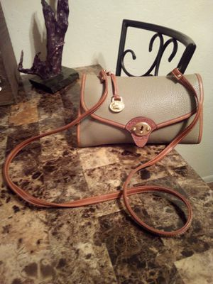Vintage Dooney and Bourke Tan & Taupe Pebbled Leather Front Flap Crossbody OR Clutch Purse Messenger Shoulder Bag for Sale in Phoenix, AZ