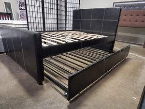 Full Size Platform Bed (Fully Slated) with Twin Trundle, Black for Sale in Huntington Beach, CA