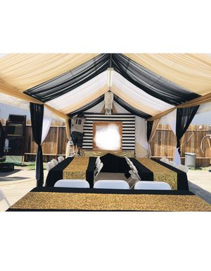 Wedding decorations-balloons- tents chairs tables - fake grass - Drapping-party-rentals for Sale in Los Angeles, CA