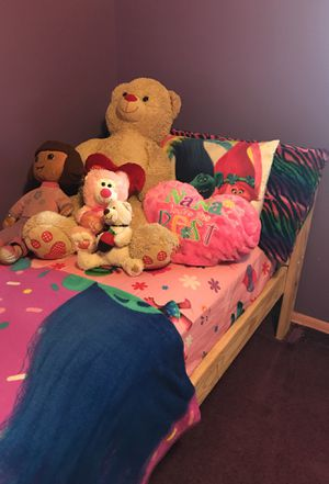 Girls twin personalized pink bunk loft beds for 150.00 a piece or 300.00 for both.firm non neg for Sale in Columbus, OH