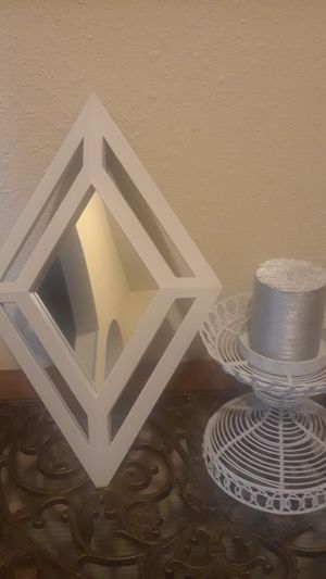 Cute white mirror with candle holder for Sale in San Antonio, TX