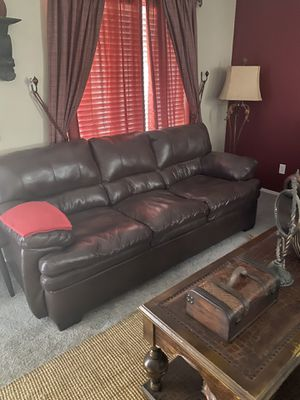 Loveseat sofa and leather recliner $350x both for Sale in Hemet, CA