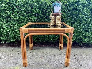 Mid Century Bentwood and Bamboo Glass top Table for Sale in North Bend, WA