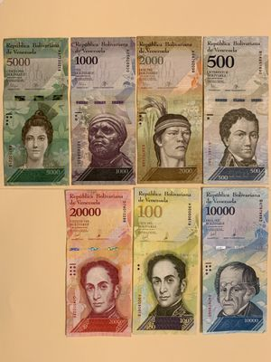 7 PCS Venezuela Banknote Set for $6 Money Currency for Sale in Atlanta, GA
