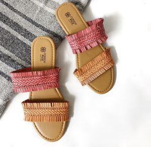 AVON Cushion Walk Fringe Braid Orange Pink Sandals size 6 for Sale in Auburn, ME