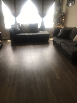 L shaped sectional, curtains, and tree for Sale in Bloomington, IL