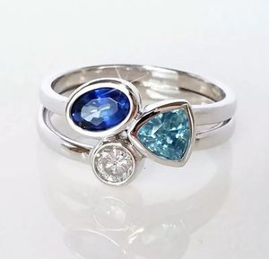925 Silver Rings Women Aquamarine & Sapphire Ring Size 7 With gift box for Sale in San Jose, CA