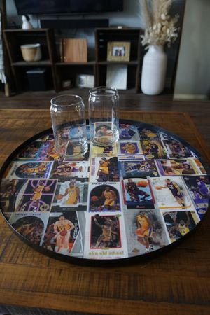 Los Angeles Laker table made with sports cards including Kobe Bryant and Lebron James for Sale in Los Angeles, CA