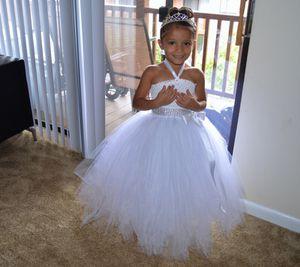 FLOWER GIRL DRESS/White little bride dress princess dress flower girl for Sale in Manassas, VA