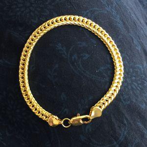 18k gold plated bracelet men women unisex 21cm 18k stamped 5mm for Sale in Silver Spring, MD