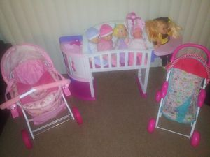 Play strollers, crib, dolls for Sale in Fontana, CA