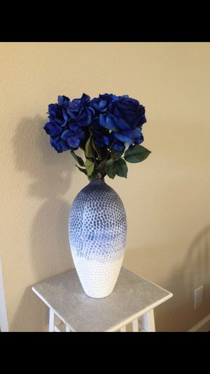decorative vase + flowers $40 for Sale in Foster City, CA