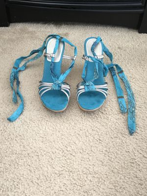 Blue Strap Up Heels (Size 7.5) for Sale in Silver Spring, MD