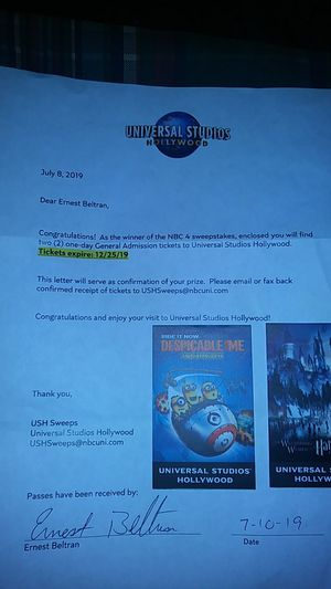 General admission Universal Studios Hollywood to tickets for Sale in Ontario, CA