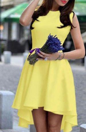 size LG fresh lemon yellow sleeveless hi-lo dress for Sale in Arlington, TX