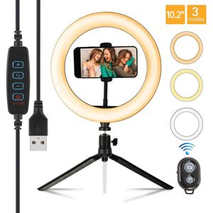 10.2 LED Selfie Ring Light with Tripod Stand and 3 Light Modes for Sale in Addison, TX