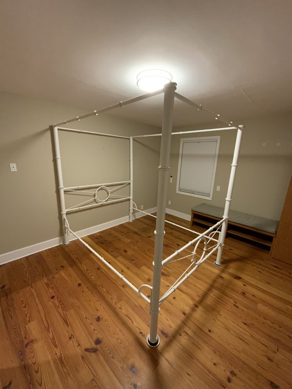 Gorgeous White Queen Metal Canopy Poster Bed With Mattress Frame,Box Springs
