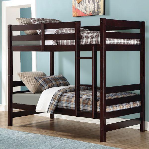 New Kids Twin Wooden Bunk Bed w/ Ladder Espresso