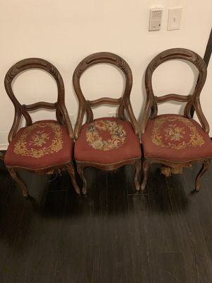 Antique Victorian mahogany balloon back needle point parlor chairs for Sale in Los Angeles, CA