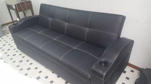Black leather couch for sale for Sale in Milan, IL