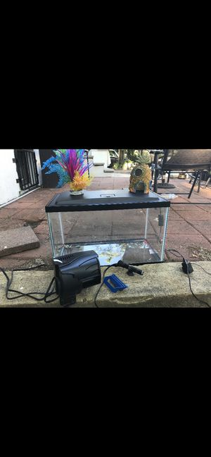 Fish tank with light hood, filter, water heater and big pineapple + plant from petco for Sale in Boston, MA