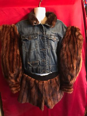 Coutour Womans Genuine Brown Mink Denim coat w/shorts sz M/L OBO for Sale in Washington, DC