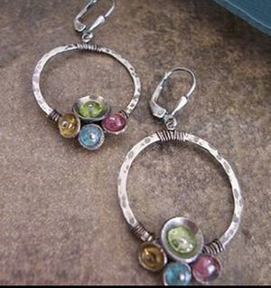 Vintage Antique Silver Color Bohemian Drop Hoop Earrings for Sale in Wichita, KS