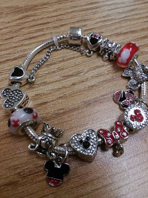 Beautiful MULTI CHARM Mickey and Minnie Mouse Charm Bracelet with Beaded Crystals for Sale in The Bronx, NY