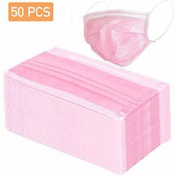 50 Disposable Pink Face Masks , 3-ply Breathable Masks, Elastic Ear Loop Filter Mask for Sale in The Bronx,  NY