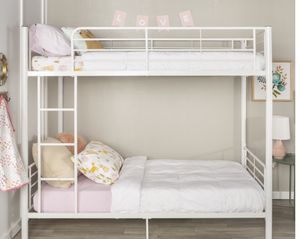 New!! Bed, twin bed, twin bunk bed, twin over twin bunk bed, metal bunk twin bed, bedroom furniture ,white for Sale in Phoenix, AZ