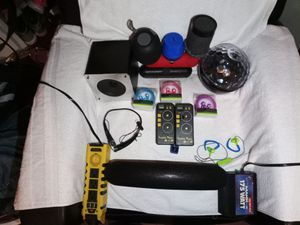 Bluetooth speakers, wireless headphones, mini cam.and power plugs for car(cigarette plugs for power for Sale in Canton, MI