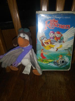 Black Diamond Edition collectible The Rescuers VHS movie tape with plush toy new with tag for Sale in Hawthorne, CA