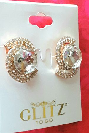 Shipping or PickUp: New goldtone faux diamond acrylic and crystal clip earrings for Sale in Anaheim, CA