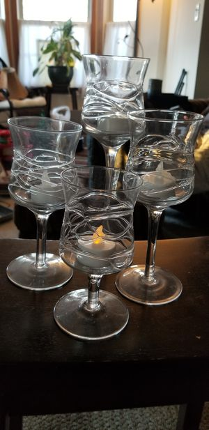 "Set if four ""Wine Glass"" candle holders for Sale in Toms River, NJ"