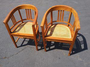 $275 Pair Mid Century Teak Cane Captains Chairs for Sale in Cerritos, CA
