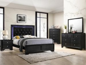 Bedroom set Queen bed +Nightstand +Dresser +Mirror. Mattress not included for Sale in Garden Grove, CA