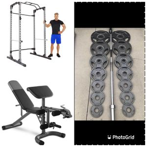 Squat cage, arm preacher bench and 30 weights set for Sale in San Bernardino, CA