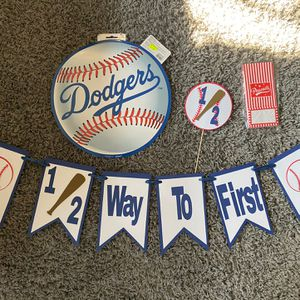 Dodgers 1/2 A Year Decorations For A Baby Boy for Sale in Montebello, CA