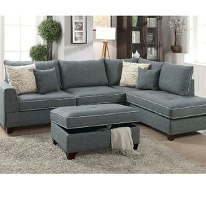 Steel Grey Sofa Sectional Couch No Credit Check No Credit Needed Apply Today for Sale in Downey, CA