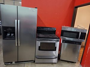 stainless steel appliances set fridge stove dishwasher microwave all good working conditions set for $499 for Sale in Wheat Ridge, CO