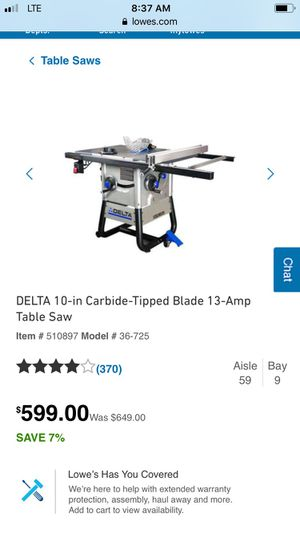 Delta 36-725 contractor table saw for Sale in Tacoma, WA