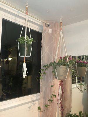 Set of Two Macrame Plant Hangers for Sale in Visalia, CA