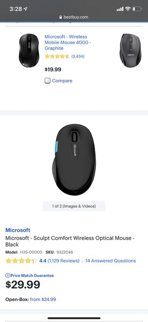 Microsoft- Sculpt Comfort Wireless Optical Mouse - Black for Sale in Los Angeles, CA