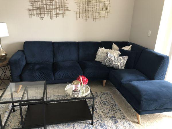 Joss & main blue sofa plus coffee table