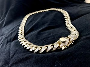 Cuban link iced out gold chain - 925 silver, 14k gold plated, Russian HQ Stones for Sale in Orlando, FL