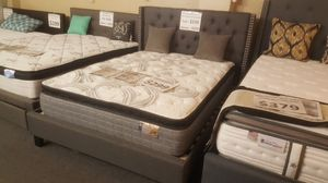 Brand new gray queen studded bed frame + pillowtop mattress for Sale in San Diego, CA