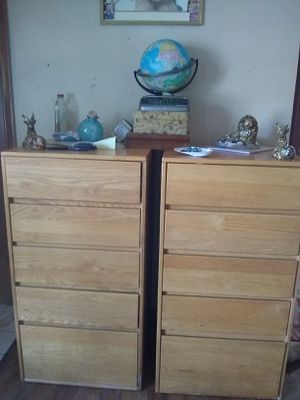 Two Tall boy solid wooden five drawer dressers for Sale in Yates Center, KS