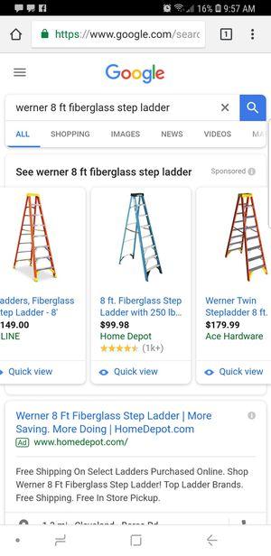 8ft Werner Fiberglass Ladder $75 for Sale in Brooklyn, OH