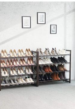 8-Tier Shoe Rack, Set of 2 Stackable 4-Tier Shoe Organizers, Metal Mesh Shoe Shelf Storage, Adjustable Flat or Angled Shelves, Bronze ULMR08A for Sale in Rancho Cucamonga,  CA