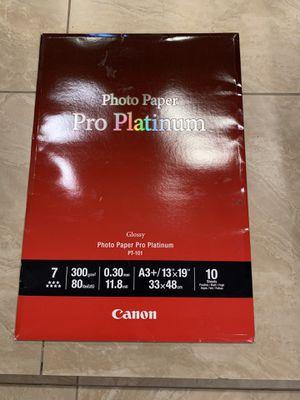 Canon Photo Paper Pro Platinum, 13 x 19 Inches, 10 Sheets (2768B018) for Sale in Covina, CA
